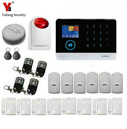 YobangSecurity LCD Wireless Wifi GSM Autodial Call RFID SMS Home Office Security Burglar Intruder Alarm With Strobe Flash Siren yobangsecurity wireless gsm sms senior telecare home security alarm system with sos call for elderly care mobile phone control
