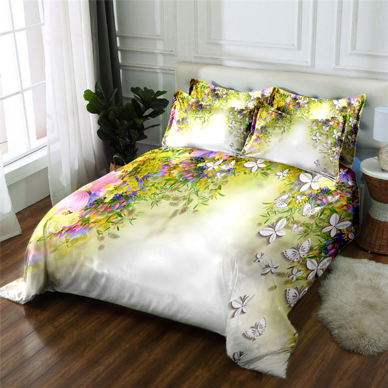 New Product 3D printed 4 Pcs Bedding Set Microfiber Bedclothes flowers Bed Linens Duvet Cover Set Bed Sheet - 3