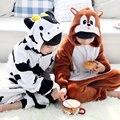 Inverno Quente Pijamas de manga Longa Crianças Vacas Dos Desenhos Animados Cosplay Animal Macacão de Flanela Crianças Sleepwear Meninos Meninas Pijamas