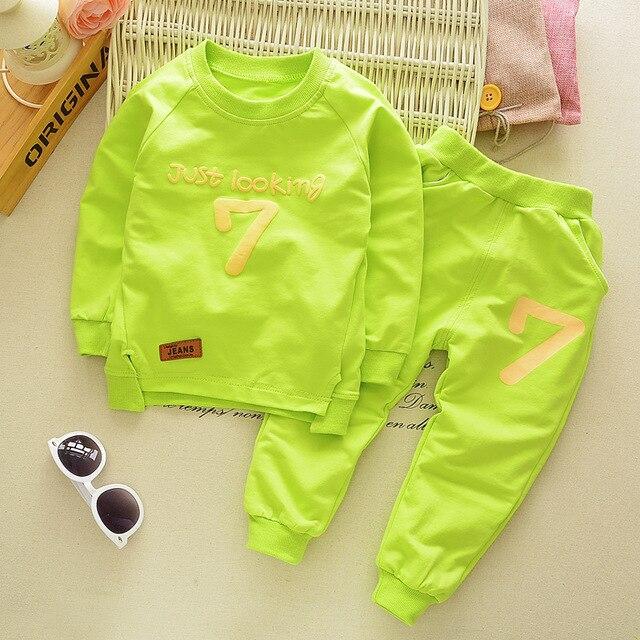 Spring Autumn Children Boys Girsls Clothing Cotton Long Sleeve Letter Sets Kids Clothes Tracksuit Baby T-Shirt Pants 2 Pcs/Suit 4