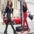 2017 новый высокое качество черный рок брюки бинты узелок женщины pu искусственной сексуальные кожаные леггинсы
