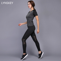 LYNSKEY Sexy Yoga Set Women Fitness Running Shirt Pants Breathable Gym Workout Clothes Compressed Yoga Leggings