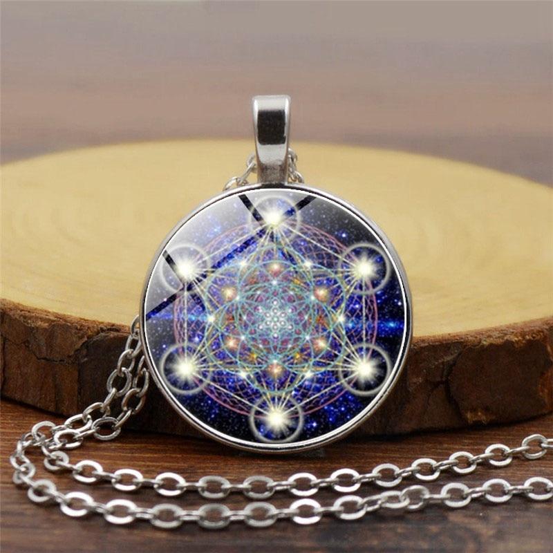 Metatron Cube Pendant Necklace Sacred Geometry Flower of Life Jewelry Chakra Spiritual Necklace Women Magic Hexagram Choker