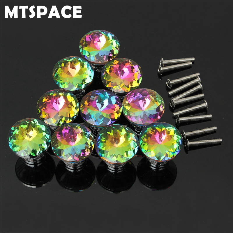 MTSPACE 10pcs/Set Colorful Drawer Door Knobs Cupboard Wardrobe Cabinet Furniture Handle Pull Crystal Alloy Noble and Classics luxury gold czech crystal round cabinet door knobs and handles furnitures cupboard wardrobe drawer pull handle