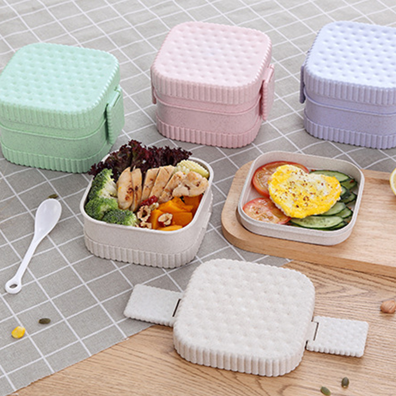 650ml School Lunch Box For Kids Japanese Bento Boxes Wheat Straw Box For Meal Prep Lunch Box Containers With Compartments