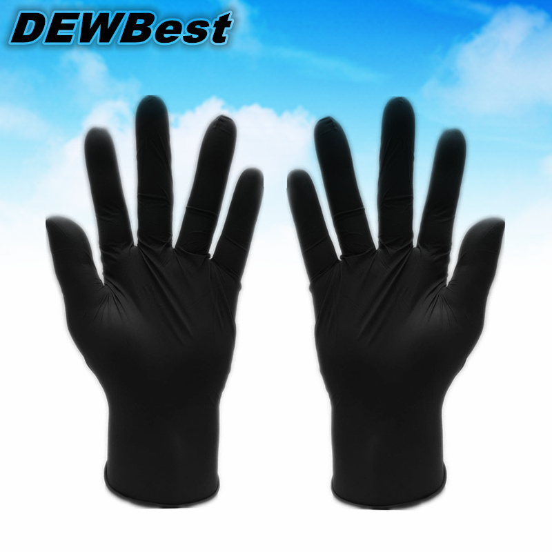 DEWBest Free shipping hot selling D120 Disposable black white blue nitrile latex pvc gloves for working and cleaing