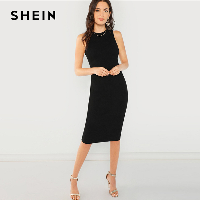 SHEIN Black Elegant Solid Pencil Dress Slim Sleeveless Knee Length Sexy Workwear Dresses Women Plain Sheath Summer Dress 3