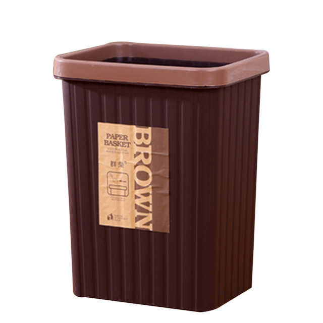 Square Lidless Trash Can Bathroom Office Kitchen Gap Garbage Bin Wastebasket  With Pressing Ring