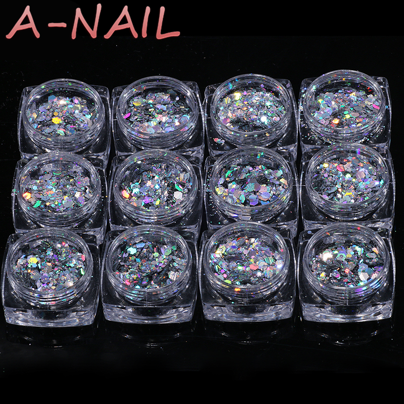 12 box/set Mixed Nail Art Glitter Powder Assorted Shape Loose Sequins DIY Nail Art Tips Decoration Laser Sliver Nail Confetti monja 48 jar mix style nail art rhinestones beads glitter powder sequins flakes stickers 3d design decoration