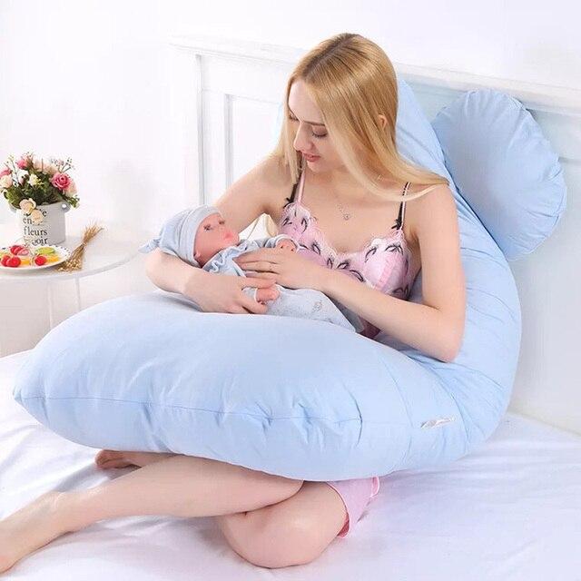 النوم وسادة داعمة الوسائد الأمومة للنساء الحوامل الجسم 100% القطن أرنب طباعة U شكل الحمل الجانب النائمون