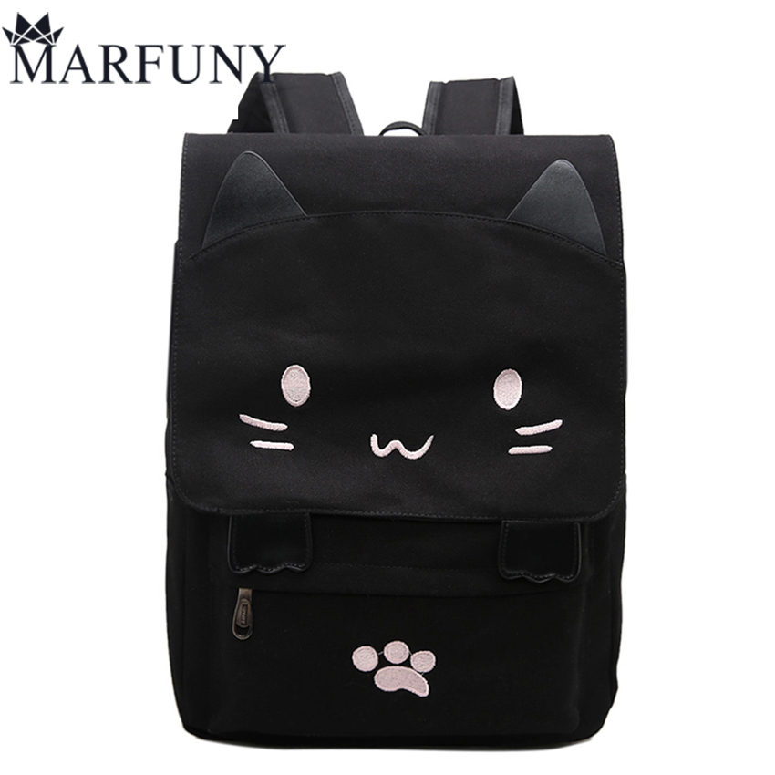 Fashion Canvas Backpacks For Teenage Girls School Bags Cute Cat Women Backpack Preppy Style Cartoon Bag Large Capacity Mochila 2016 bebe rompers ropa pink minnie hoodies newborn long romper baby girl clothing roupa infantil jumpsuit recem nascido