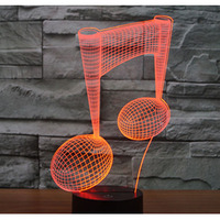 3D LED Night Light Music Note With 7 Colors Light For Home Decoration Lamp Amazing Visualization