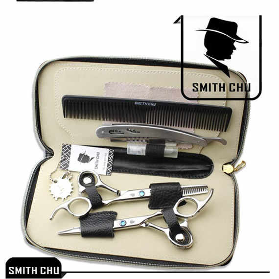 "6.0"" Smith Chu Japan 440c Hair Cutting Scissors Thinning Shears Hairdressing Clipper Hairdresser's Razors with Comb Case LZS0006"