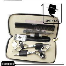 6.0 Smith Chu Japan 440c Hair Cutting Scissors Thinning Shears Hairdressing Clipper Hairdresser's Razors with Comb Case LZS0006 smith chu curly hair comb wide toothed comb