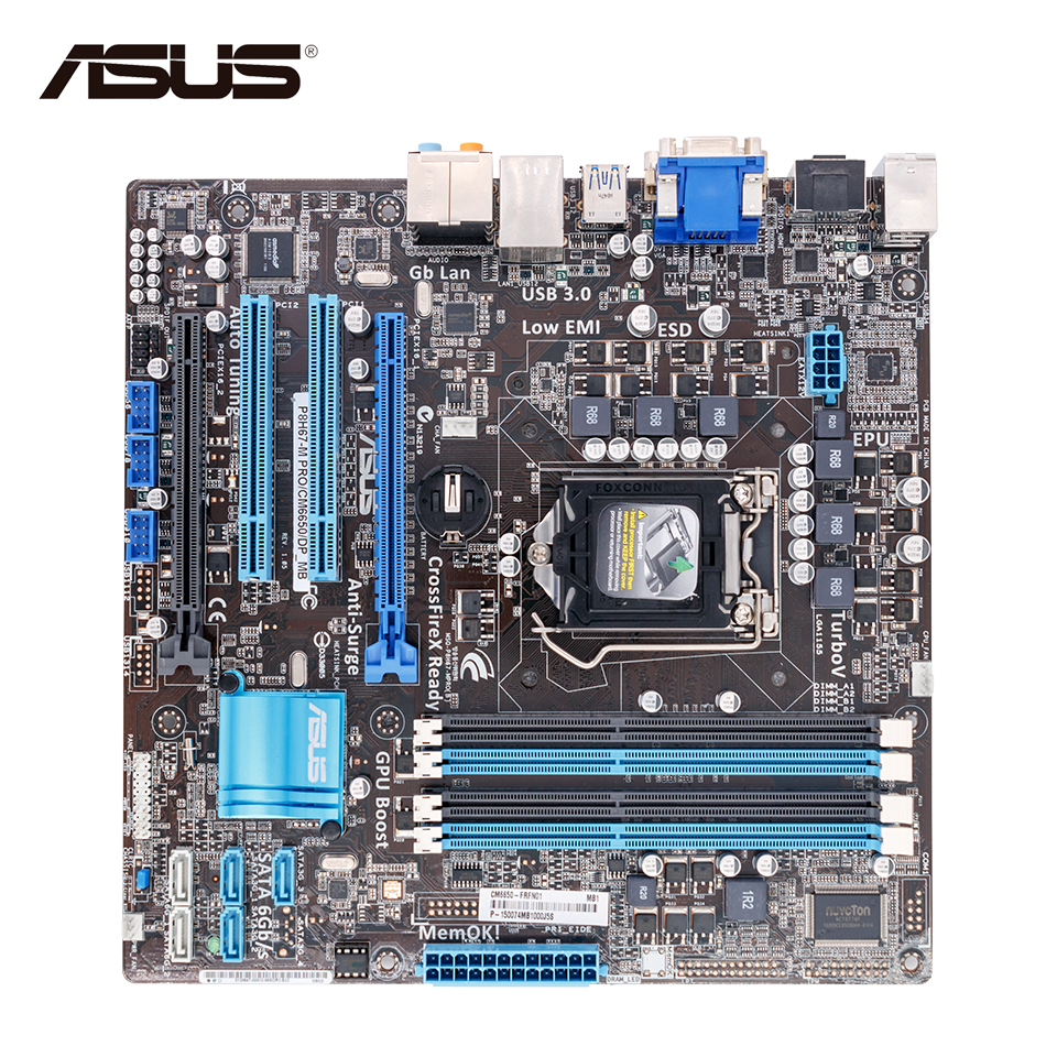 Asus P8H67-M PRO Desktop Motherboard H67 Socket LGA 1155 i3 i5 i7 DDR3 32G uATX asus p8h61 plus desktop motherboard h61 socket lga 1155 i3 i5 i7 ddr3 16g uatx uefi bios original used mainboard on sale