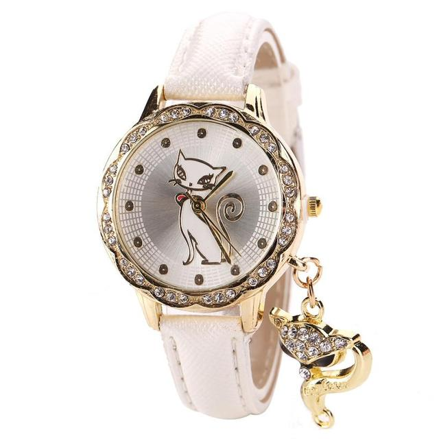 Cute Cat Watch Fashion Women Watches Luxury Crystal Rhinestone Stainless Steel G