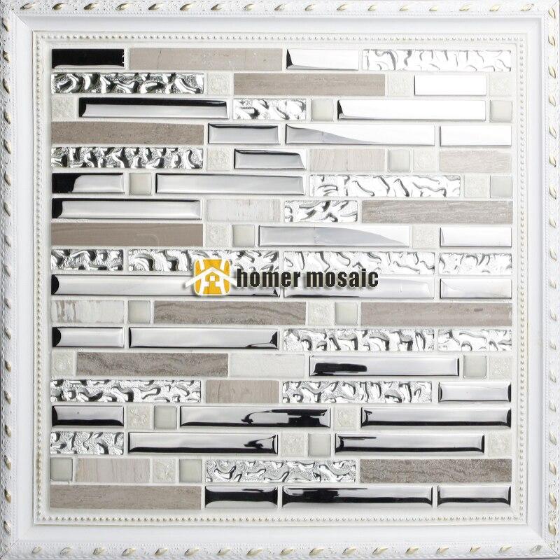 Streifen Muster Grau Farbe Glas Gemischt Edelstahl Und Stein Für Badezimmer  Dusche Fliesen Küche Backsplash Fliesen