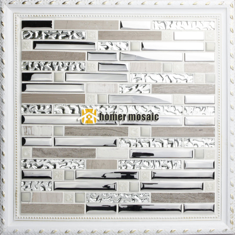 Stainless Steel Pattern Gray Glass Mosaic Tile: Strip Pattern Gray Color Glass Mixed Stainless Steel And
