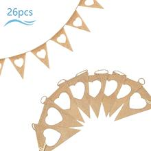 METABLE  26 Pcs Hessian Banner Vintage Wedding Bunting Flag Garland Hanging Pennant Shabby Chic Decoration for Birthday