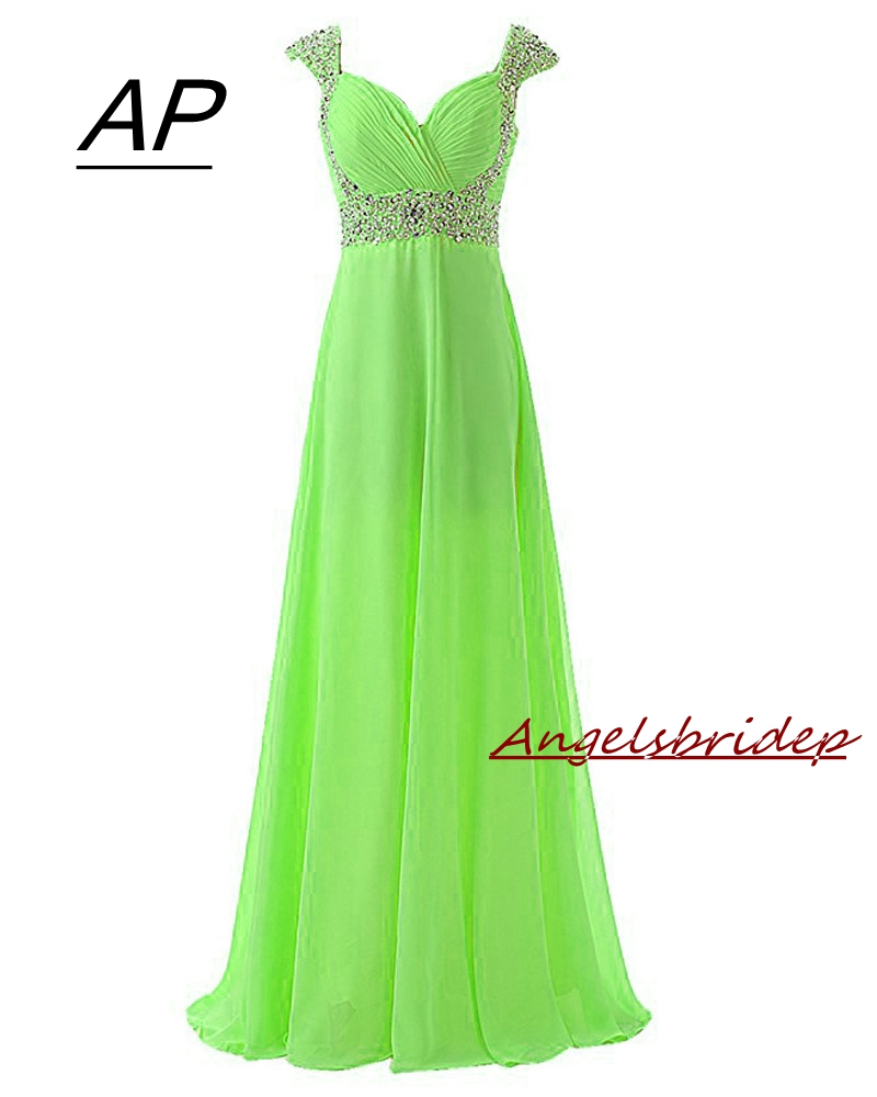 Prom-Gowns Evening-Dresses Angelsbridep Chiffon Long-Cap-Sleeve Neck-Party Designs Simple