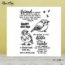 ZhuoAng Happy Bird Day Clear Stamps For DIY Scrapbooking/Card Making/Album Decorative Silicon Stamp Crafts