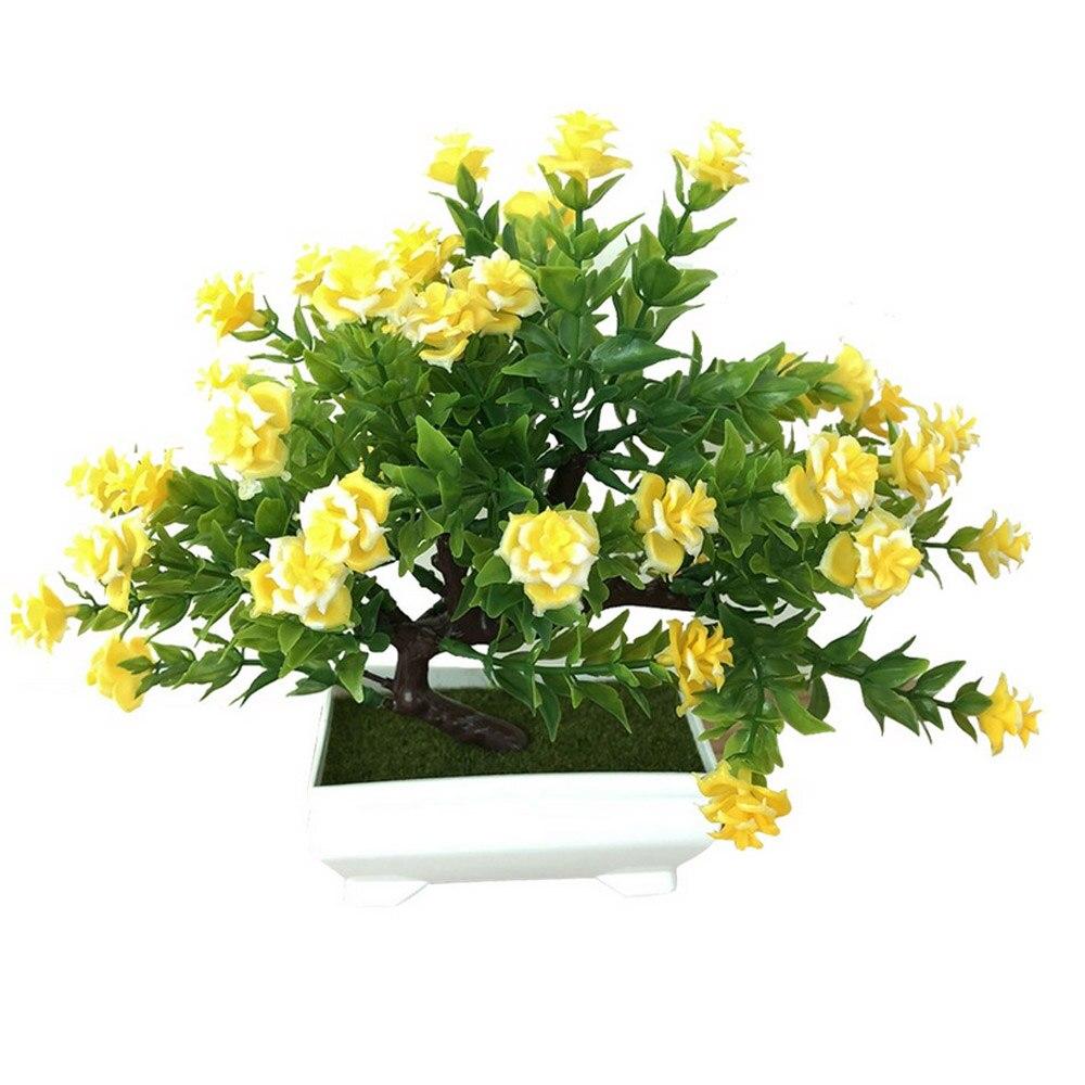 Искусственное растение Моделирование бонсай из цветов горшечный орнамент Настольный подарок Красивая мода домашний декор розы украшение дома - Цвет: yellow
