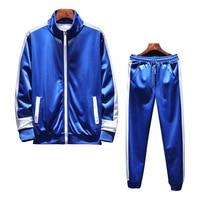 Polyester Sports Suit Men Set Two Pieces Zipper Sweatshirt Pants Mens Tracksuit Sportwear Autumn Winter Rashgard Track Suit Blue