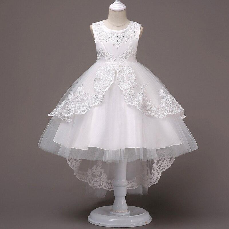 Haute qualité filles Boutique robe de soirée broderie perles princesse dentelle robes coton doublure à queue Tulle robe de bal 3-15years
