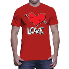 Family T Shirts MenS Crew Neck Print Short  Love Heart With Arrow Tee