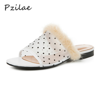 Pzilae summer shoes women 2019 new women slides Air mesh polka dot indoor slippers fashion flat with ladies slippers black white