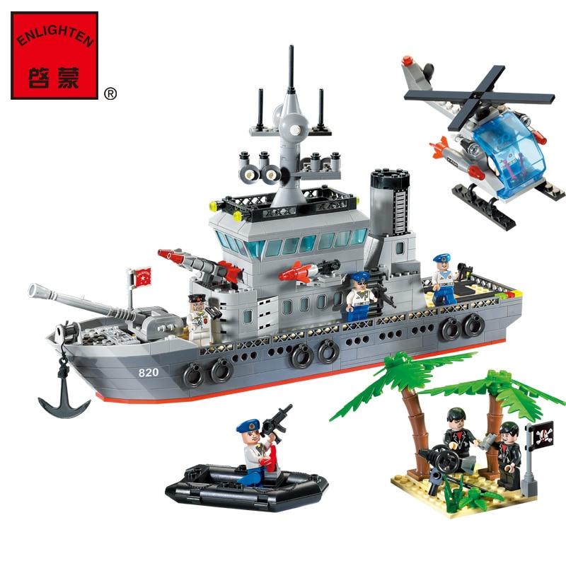 ФОТО ENLIGHTEN 820 CombatsZone Military Navy Frigate WarShip Helicoper Destroyer Model Building Blocks minifig Kids Toys