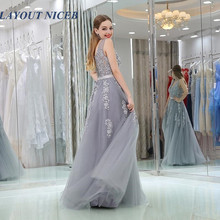 New Design Silver Evening Dress Appliques Lace Tulle 2019 Sexy V-neck BacklesSleeveless Floor Length Simple Customized Prom Gown