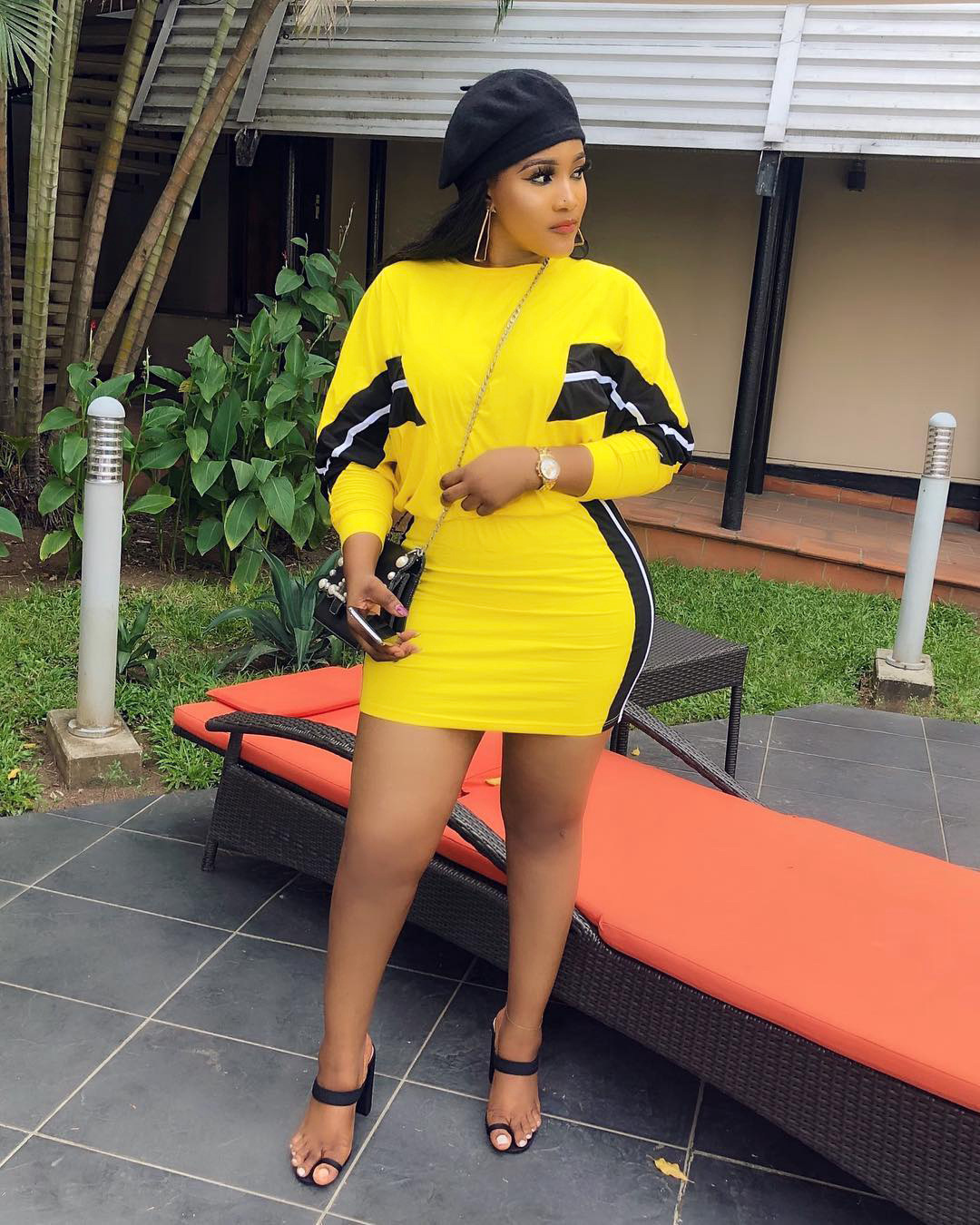 2019 Women Stripes Splicing O-neck Bat Wing Long Sleeve Mini Midi Skirts Suit 2 Pieces Set Fashion Active Wear Bodycon Dress