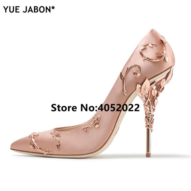 2b8db5fda86 YUE JABON Pointy Toe Stunning Wedding Shoes Woman Leaves Metal Heel Women  Pumps Bridal Dress Satin Leather High Heels 21 colors