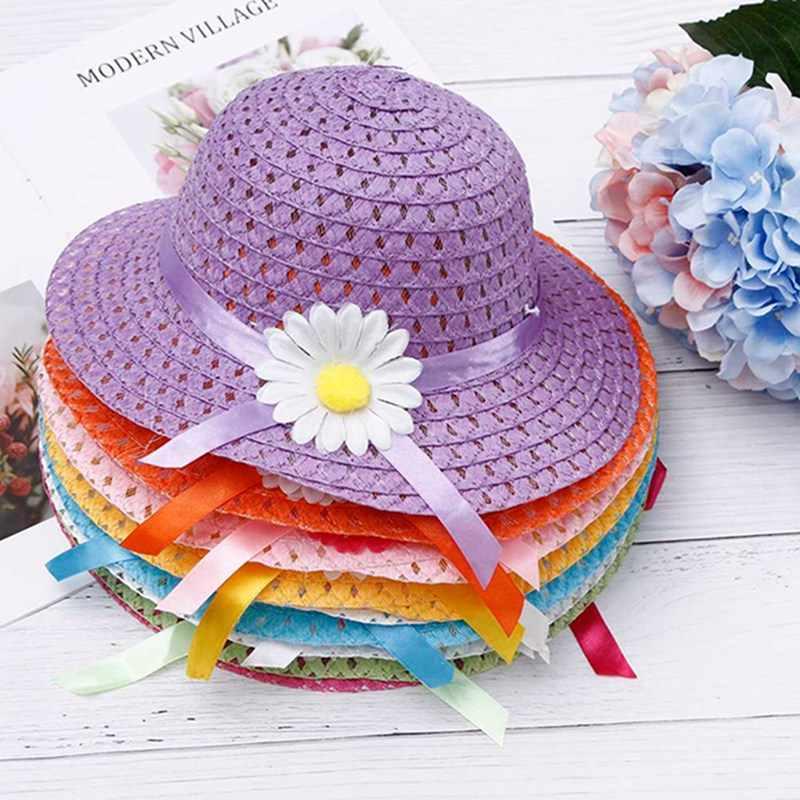 夏の太陽の帽子女の子子供わら帽子キャップ子供ビーチ帽子バッグ花トートバッグスーツ