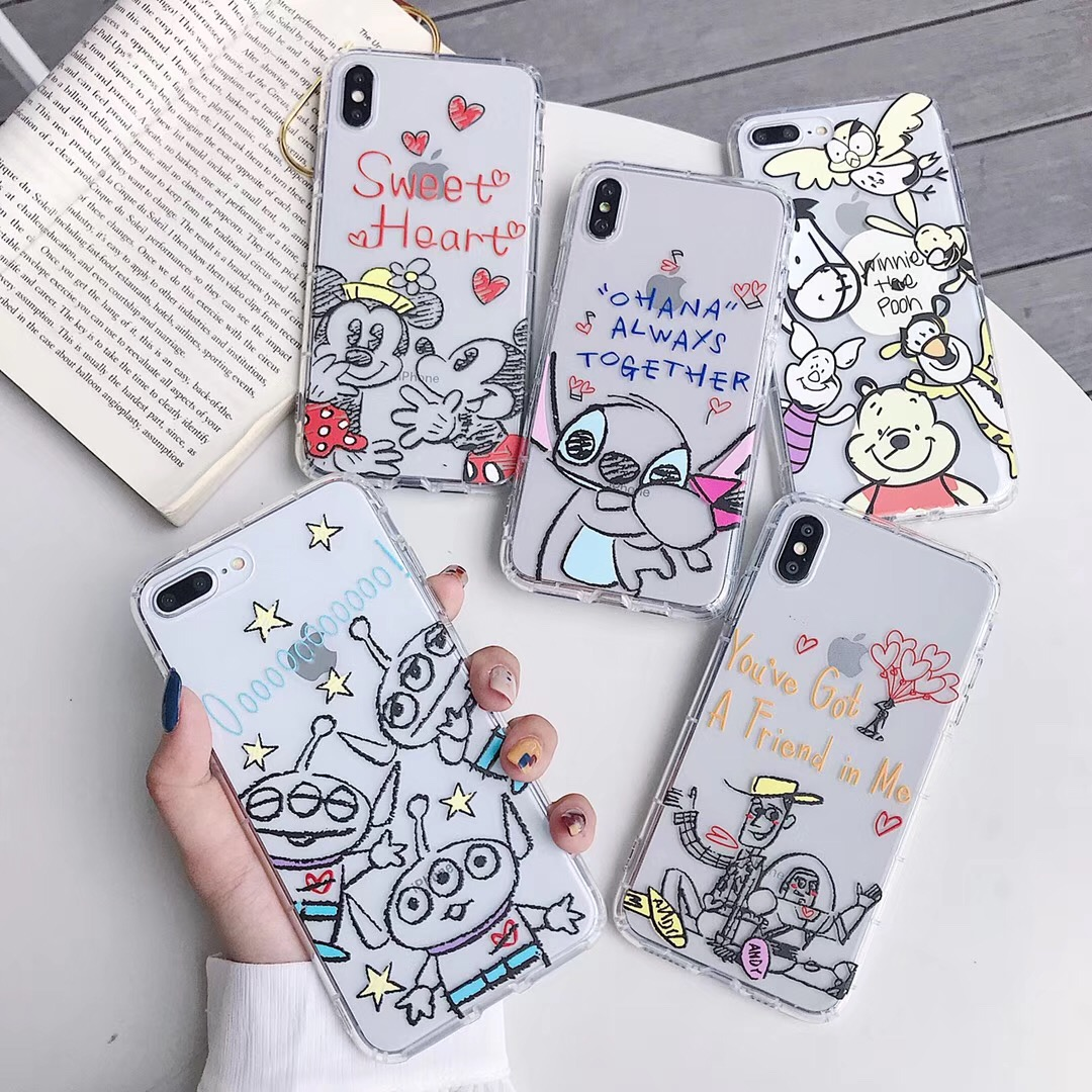Cute sketch Stitch friend Winnie Pooh family phone case For iphone Xs MAX XR X 6 6s 7 8 plus Toy Story soft TPU back Cover Capa