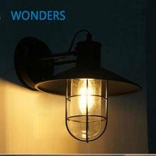 Американский чердак бра старинные RH клетка с стеклянная стена свет эдисон лампы лампы для кафе ресторан