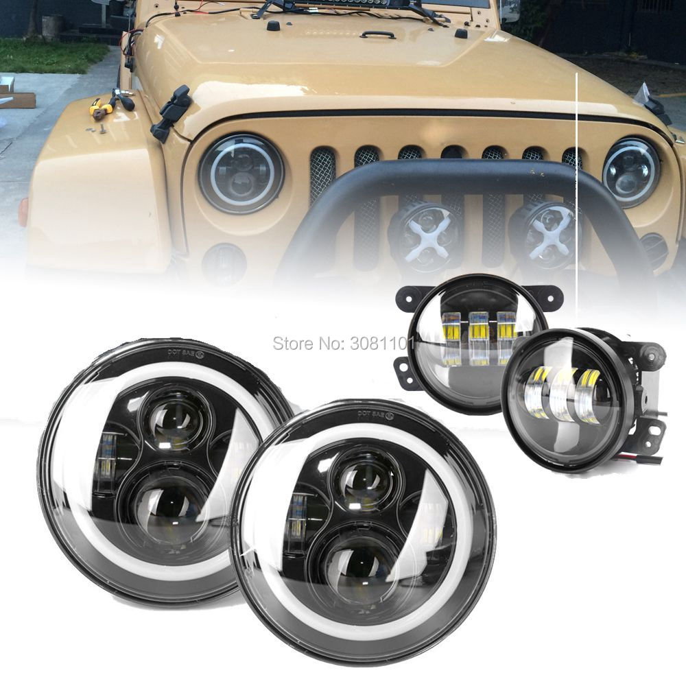 Hi-low beam External Light Projector 7H4 LED Headlight DRL Daymaker+4Driving Fog Light Kit for Jeep LJ Unlimited/Hummer H2 gztophid wiring harness extension h4 9003 hb2 light connector male to female for socket headlight fog light drl light