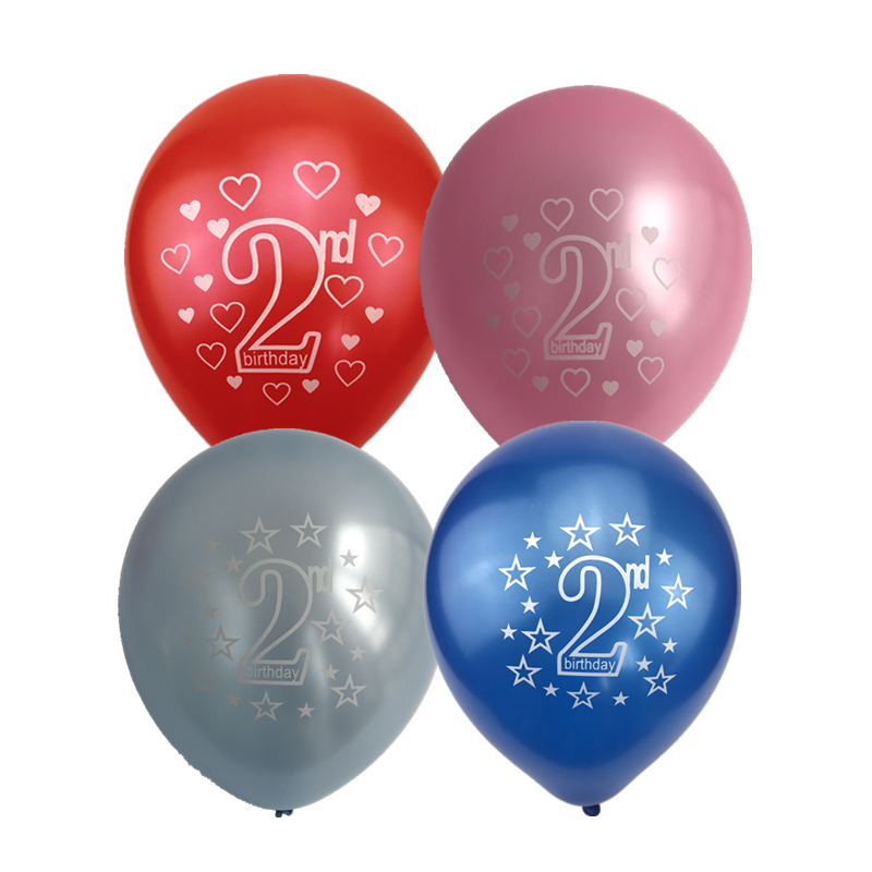 10pcs/lot Pink Blue Printed Balloons Baby Girl Boy Baptism 1st 2nd Years Old Birthday Party Decoration Inflatable Air Balloons