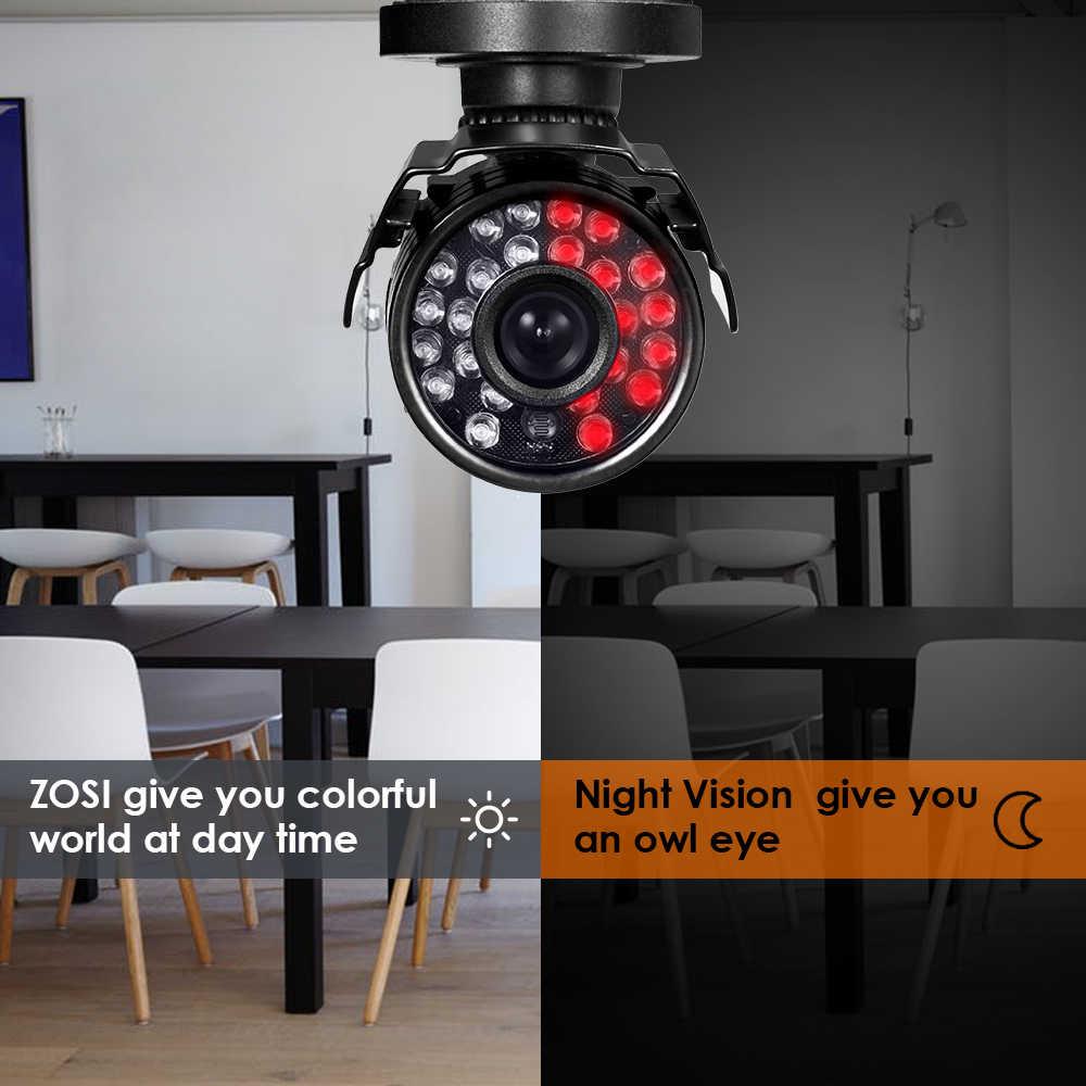 ZOSI 8CH система видеонаблюдения 720P 4 шт. 1.0MP HD 1200TVL IR защита от атмосферных воздействий CCTV камера домашняя система безопасности комплект для видеонаблюдения DVR