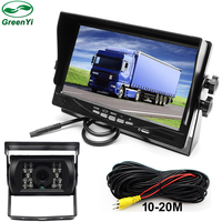 DC12 ~ 24 볼트 트럭 버스 HD 7 인치 TFT LCD 자동차 주차 모니터 태양 그늘 채널 비디오 입력 + IR 나이트 비전 리어 뷰 카메