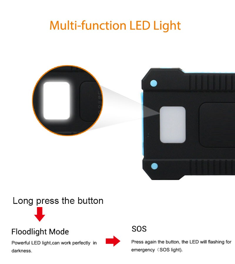 Waterproof Solar 30000mAh Solar Power Bank Charger 2 USB Ports External Charger Powerbank for Xiaomi with LED Light 3