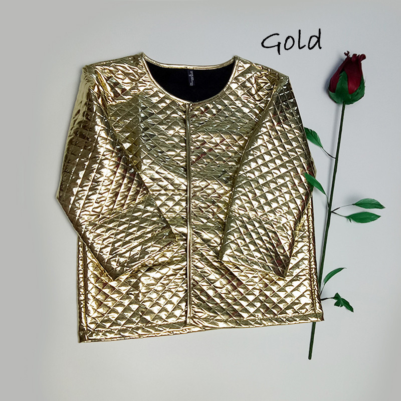 New Fashion Women J Lozenge Gold Sequins Korta Jackor Tre Quaters - Damkläder