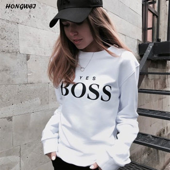 2018 Women Sweatshirts Ladies Causal Letter BOSS Printed Hooded Sweatshirt Long Sleeve Pullover Tops Sudadera Mujer Pullover