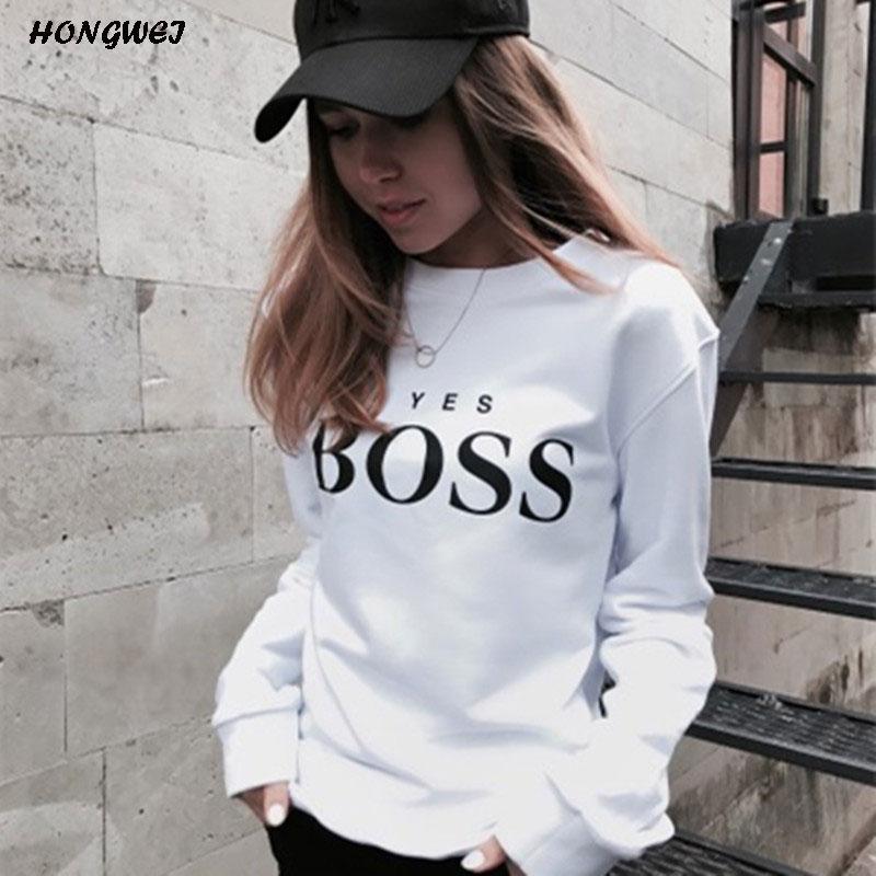 2018 mujeres sudaderas señoras Causal Letter BOSS impreso Sudadera con capucha de manga larga Jersey Tops Sudadera Mujer Jersey