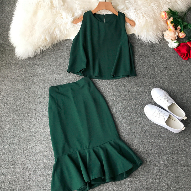 Smart Casual Chiffon Suit Women Summer Sleeveless Top+Mermaid Pencil skirt Set Office Ladies skirt set outfits for female