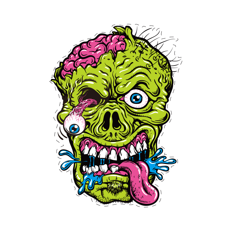 Free Shipping 2014 Funny Cool Diy Terror Green Zombie Head Car Sticker Car Exterior Accessories