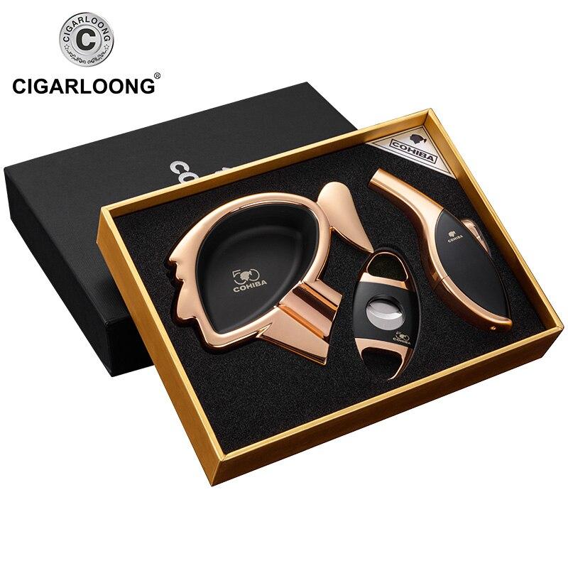 Conjuntos CHARUTO Charuto Cinzeiro cinzeiro Grande capacidade com CQ-01 portátil cortador de charutos e charuto mais leve de Presente de natal de luxo