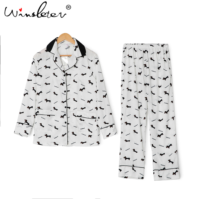 New 2019 Pajama Sets Women Dachshund Print 3 Pieces Set Long Sleeve Top + Pants Elastic Waist + Blinder Loose Homewear S74407 6