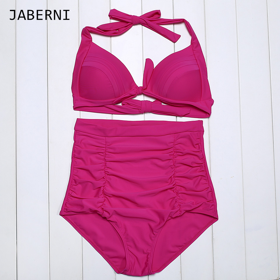 ФОТО JABERNI Bikini set 2016 women high waist swimwear Swimsuit Halter top push up summer Bathing Suits Swim Wear maillot